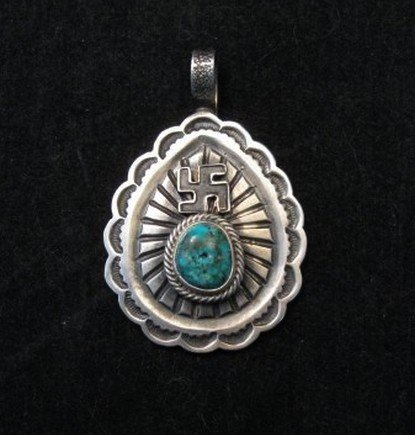 Image 0 of Navajo Morenci Turquoise Whirling Logs Silver Pendant, Gary Reeves