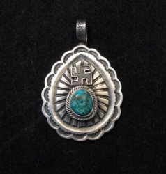 Navajo Morenci Turquoise Whirling Logs Silver Pendant, Gary Reeves