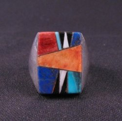 Navajo Multigem Inlay Silver Ring Dale Livingston sz13-1/2