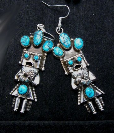 Image 0 of Navajo Native American Turquoise Silver Kachina Earrings, Doris Smallcanyon