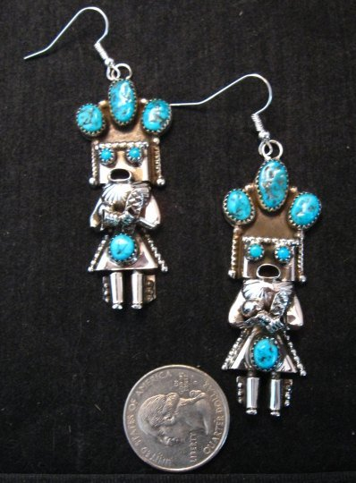 Image 1 of Navajo Native American Turquoise Silver Kachina Earrings, Doris Smallcanyon