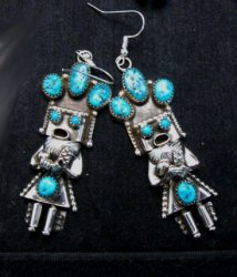 Navajo Native American Turquoise Silver Kachina Earrings, Doris Smallcanyon