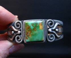Navajo Pilot Mtn Turquoise Silver Bracelet, Delbert Gordon