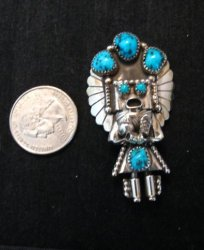 Navajo Turquoise & Sterling Silver Kachina Pin / Pendant - Doris Smallcanyon