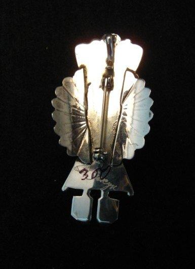 Image 1 of Navajo Coral & Sterling Silver Kachina Pin / Pendant - Doris Smallcanyon