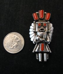 Navajo Coral & Sterling Silver Kachina Pin / Pendant - Doris Smallcanyon