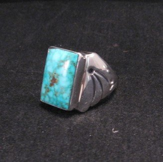 Image 4 of Navajo Turquoise Sterling Silver Ring sz11-1/4, Orville Tsinnie