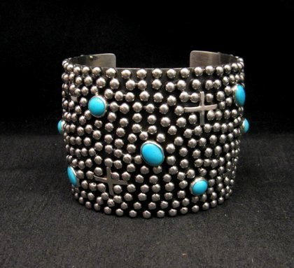 Image 0 of Wide Navajo ~ Ronnie Willie ~ Turquoise Silver Four Corners Cuff Bracelet