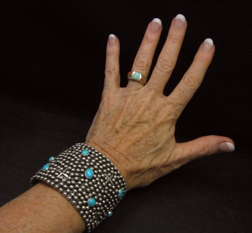 Image 1 of Wide Navajo ~ Ronnie Willie ~ Turquoise Silver Four Corners Cuff Bracelet