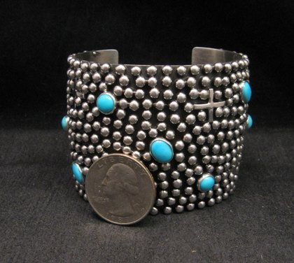 Image 2 of Wide Navajo ~ Ronnie Willie ~ Turquoise Silver Four Corners Cuff Bracelet