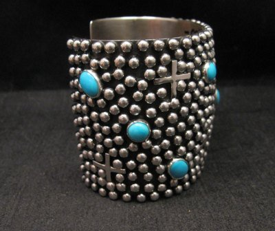 Image 3 of Wide Navajo ~ Ronnie Willie ~ Turquoise Silver Four Corners Cuff Bracelet