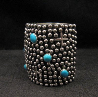 Image 5 of Wide Navajo ~ Ronnie Willie ~ Turquoise Silver Four Corners Cuff Bracelet