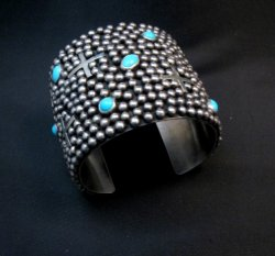 Wide Navajo ~ Ronnie Willie ~ Turquoise Sterling Silver Cuff Bracelet