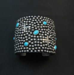 Wide Navajo ~ Ronnie Willie ~ Turquoise Silver Four Corners Cuff Bracelet