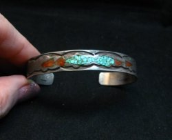 Vintage Native American Turquoise Coral Chip Inlay bracelet