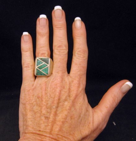 Image 5 of Old Vintage Pawn Zuni Turquoise Flush Inlay Ring sz10-1/2
