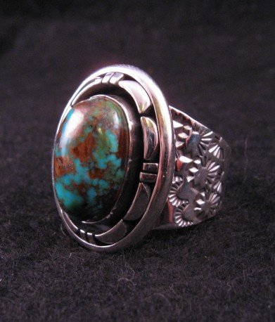 Image 2 of Persian Turquoise Navajo Silver Ring Sz11-1/2, L. Bruce Hodgins