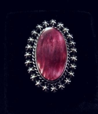 Image 0 of Purple Spiny Oyster Navajo Silver Ring Sz6-1/2 by Happy Piasso