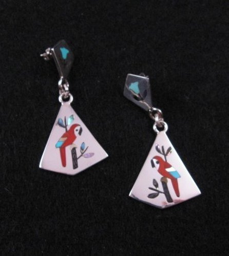 Image 1 of Sanford Edaakie Zuni Inlaid Macaw Parrot 2-piece Earrings