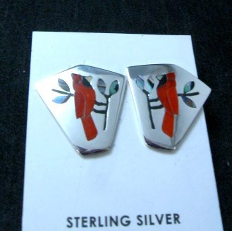Image 1 of Sanford Edaakie, Zuni, Inlaid Cardinal Silver Post Earrings
