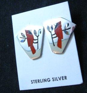 Image 2 of Sanford Edaakie, Zuni, Inlaid Cardinal Silver Post Earrings