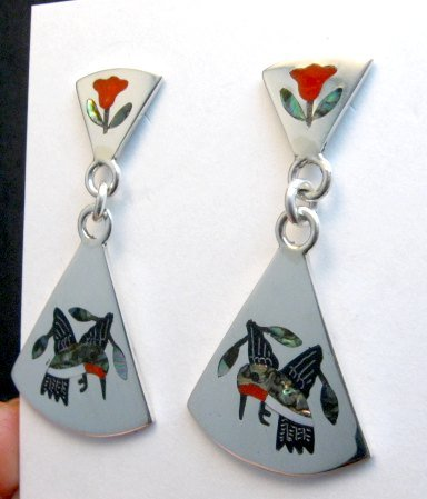 Image 0 of Sanford Edaakie Zuni Inlaid Hummingbird 2-Pc Earrings, Red Flowers