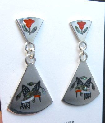 Image 1 of Sanford Edaakie Zuni Inlaid Hummingbird 2-Pc Earrings, Red Flowers
