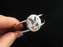 Sanford Edaakie, Zuni, Inlaid Hummingbird Silver Bracelet