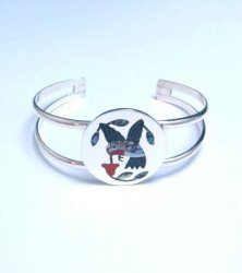 Sanford Edaakie Zuni Inlaid Hummingbird Silver Bracelet, Red Flower