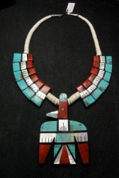 Santo Domingo Inlaid Thunderbird Tab Necklace, Delbert Crespin