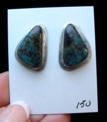 Tommy Jackson Navajo Azurite Silver Earrings