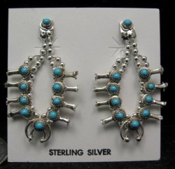 Mini Turquoise Sterling Silver Squash Blossom Earrings, Navajo, Larry Curley
