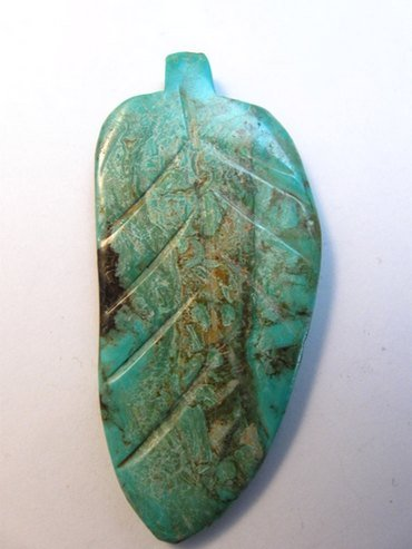 Image 3 of Large Vintage Reversible Carved Turquoise Leaf Pendant