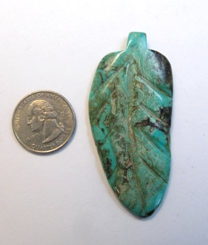 Image 4 of Large Vintage Reversible Carved Turquoise Leaf Pendant