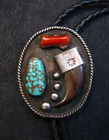 Image 0 of Vintage 1970'S Native American Claw Turquoise Coral Silver Bolo