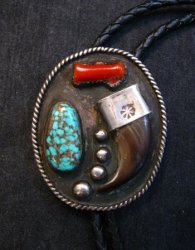 Vintage 1970'S Native American Claw Turquoise Coral Silver Bolo