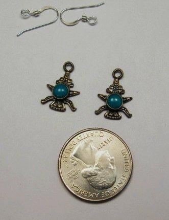 Image 1 of Vintage Fred Harvey Navajo Knifewing Earrings / Charms