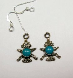 Vintage Fred Harvey Navajo Knifewing Earrings / Charms