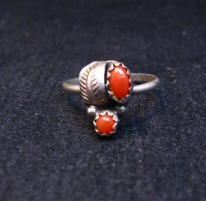 Image 0 of Tiny Vintage Native American Coral Silver Ring sz4-3/4
