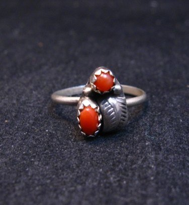 Image 1 of Tiny Vintage Native American Coral Silver Ring sz4-3/4