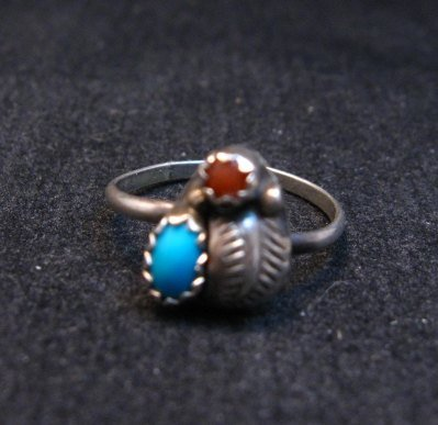 Image 0 of Tiny Vintage Native American Turquoise Coral Silver Ring sz5
