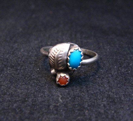 Image 1 of Tiny Vintage Native American Turquoise Coral Silver Ring sz5