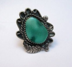 Tiny Vintage Native American Turquoise Coral Silver Ring sz5