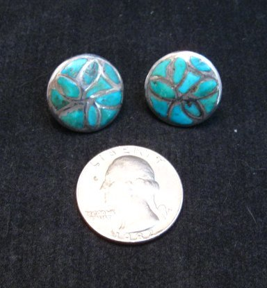 Image 0 of Vintage Native American Turquoise Inlay Earrings, Screw-backs