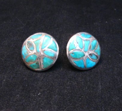 Image 1 of Vintage Native American Turquoise Inlay Earrings, Screw-backs