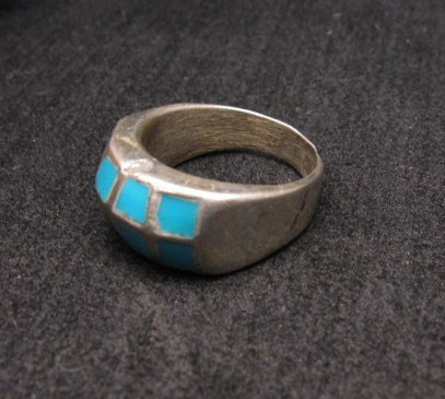 Image 2 of Vintage Native American Turquoise Inlay Panel Ring sz7