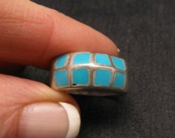 Vintage Native American Turquoise Inlay Panel Ring sz7