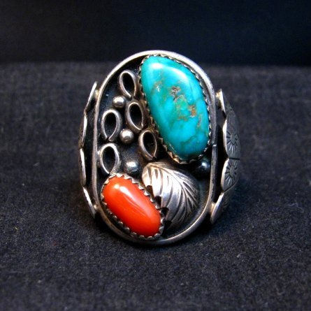 Image 0 of Vintage Southwestern Turquoise Coral Silver Ring Sz11-1/2 - Estate Piece