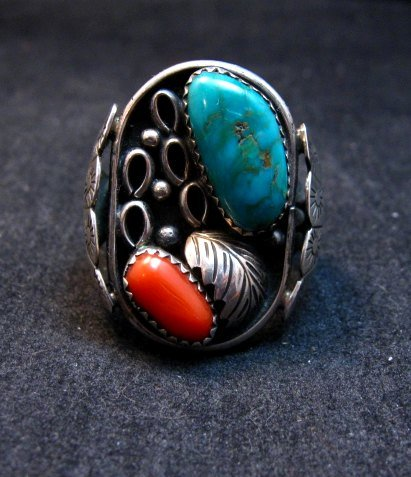 Image 1 of Vintage Southwestern Turquoise Coral Silver Ring Sz11-1/2 - Estate Piece