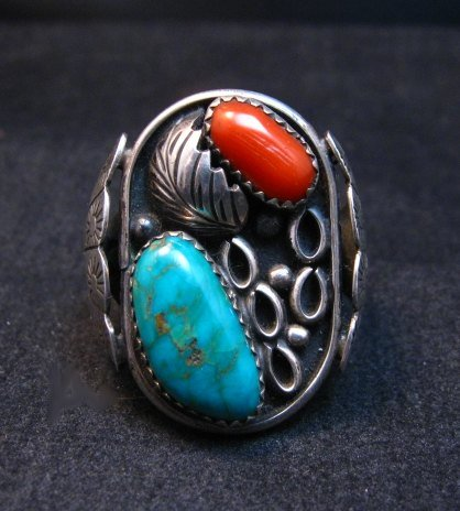 Image 6 of Vintage Southwestern Turquoise Coral Silver Ring Sz11-1/2 - Estate Piece